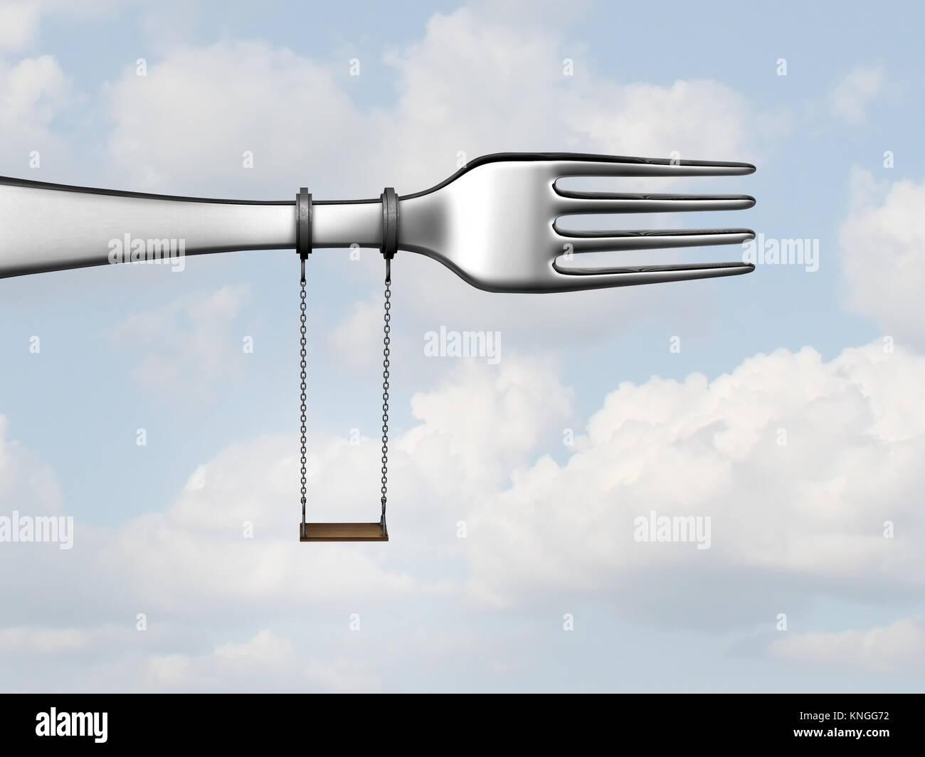 Kids Meal concepto como una cocina o restaurante horquilla con un columpio como un menú de niños símbolo Imagen De Stock