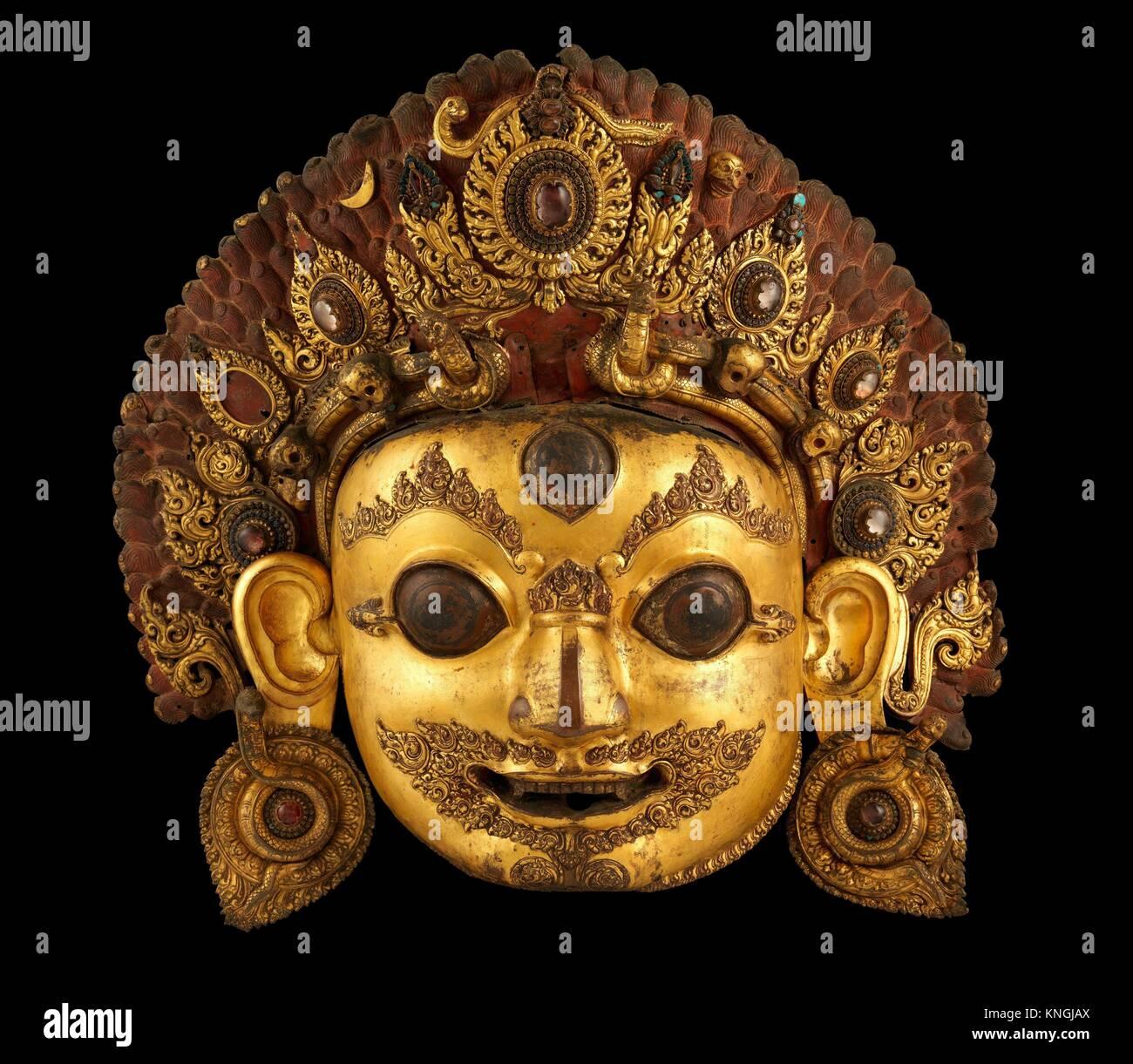 Cabeza de Bhairava. Período: período de malla; Fecha: siglo XVI; Cultura: Nepal, Valle de Katmandú; Imagen De Stock