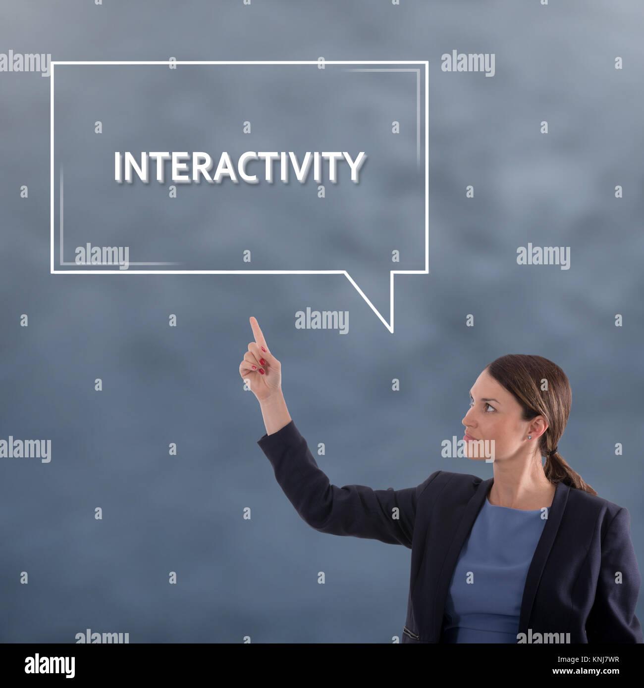 Concepto de negocio de interactividad. Mujer de negocios Concepto Gráfico Imagen De Stock
