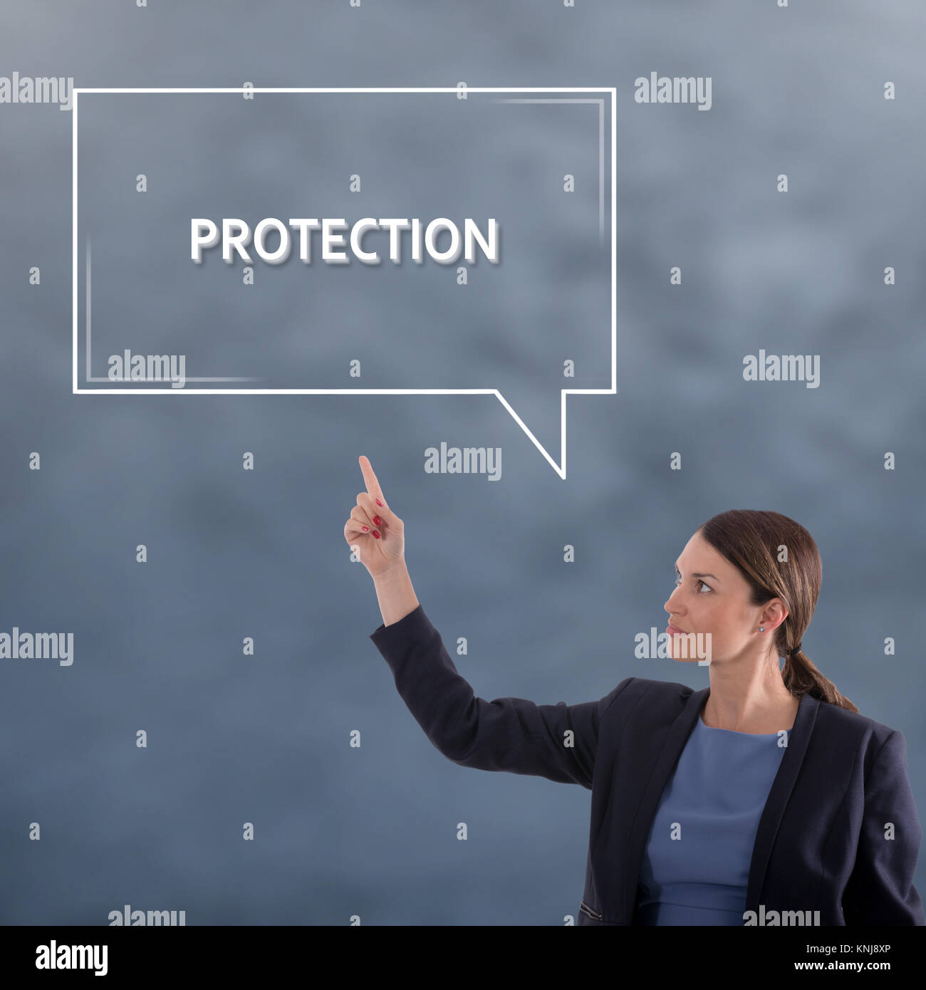 Concepto de negocio de protección. Mujer de negocios Concepto Gráfico Imagen De Stock