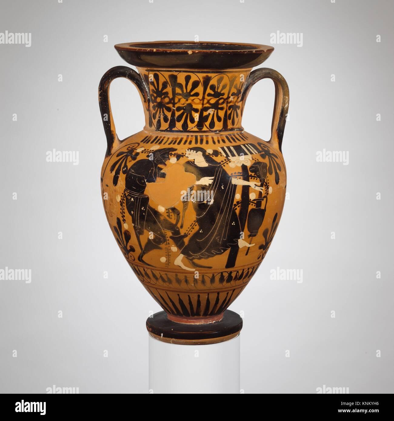 Cuello-ánforas de terracota. Atribuido al pintor Red-Line; Período: Arcaico; Fecha: comienzos del siglo Imagen De Stock