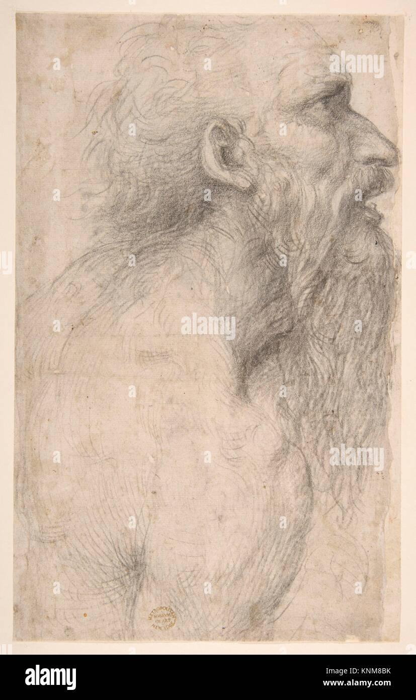 Busto de un hombre con barba larga (anverso). Artista: Sodoma (Giovanni Antonio Bazzi) (italiano, Vercelli 1477 Imagen De Stock