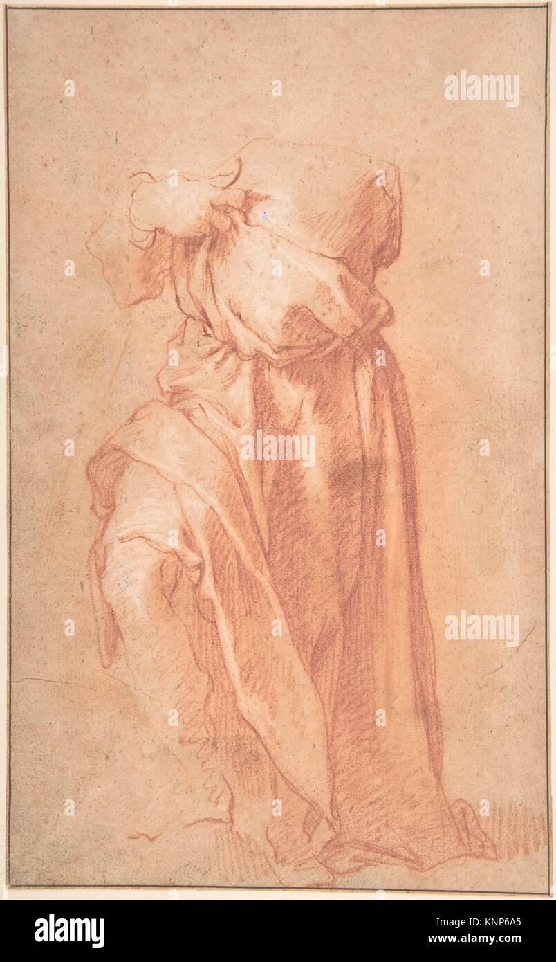 Estudio de un decapitado figura drapeadas con los brazos cruzados; verso: la figura de un hombre en un voluminoso manto, visto desde atrás. Artista: atribuido a Abraham. Foto de stock