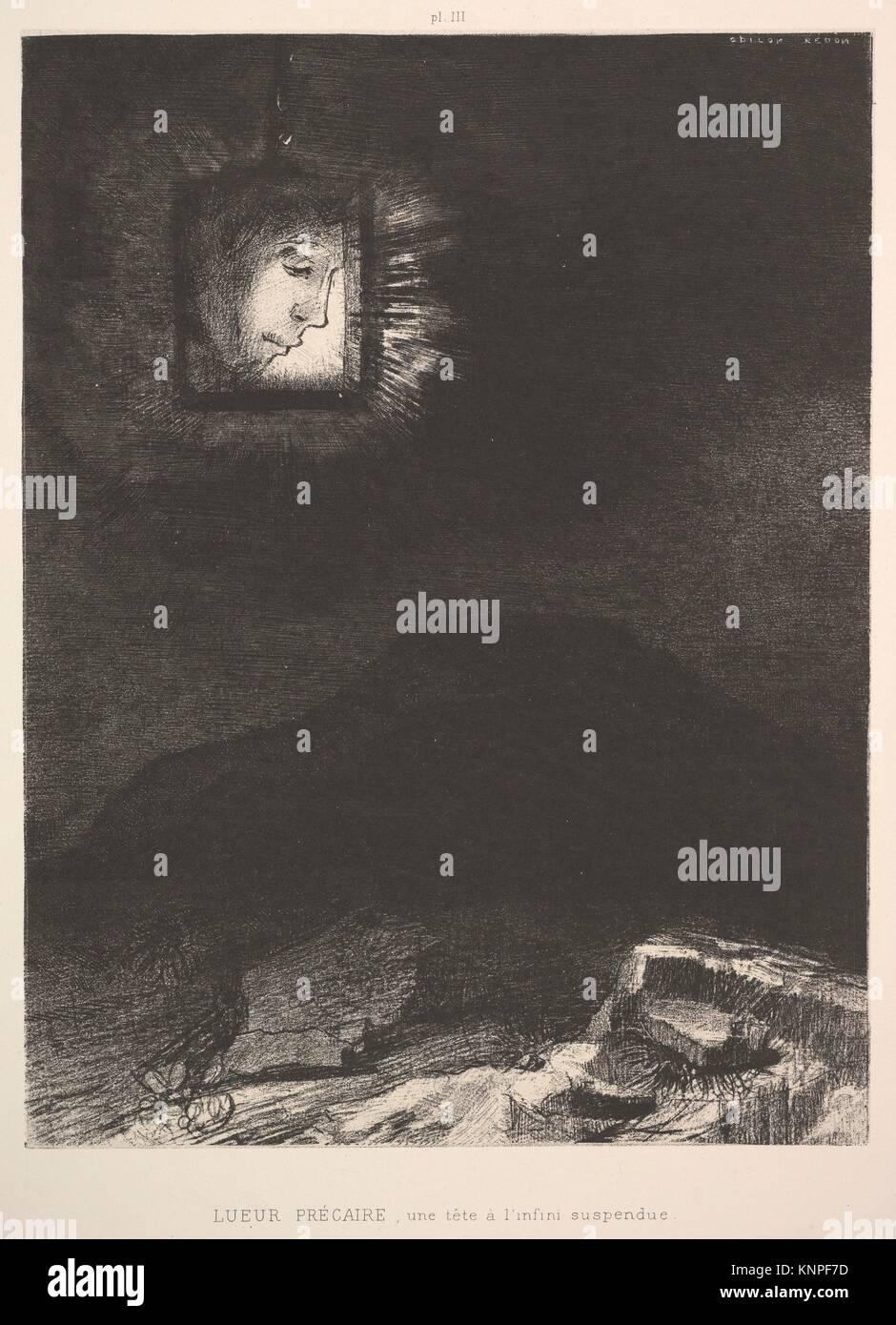 El vago atisbo de una cabeza suspendida en el espacio. Artista: Odilon Redon (1840-1916 Francés de Burdeos, París); Fecha: 1891; media: Litografía; Dimensiones: Foto de stock