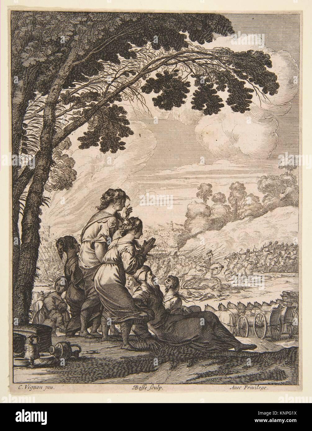 Ilustración de L'Ariane por Desmarets de Saint-Sorlin; Palamede a caballo se enfrenta a sus enemigos mientras Imagen De Stock