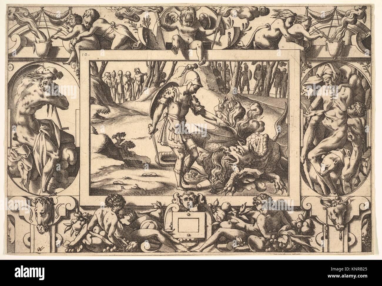Jason enfrenta el dragón custodiando el Vellocino de Oro, desde: Histoire de Jason et de la conquête de Imagen De Stock