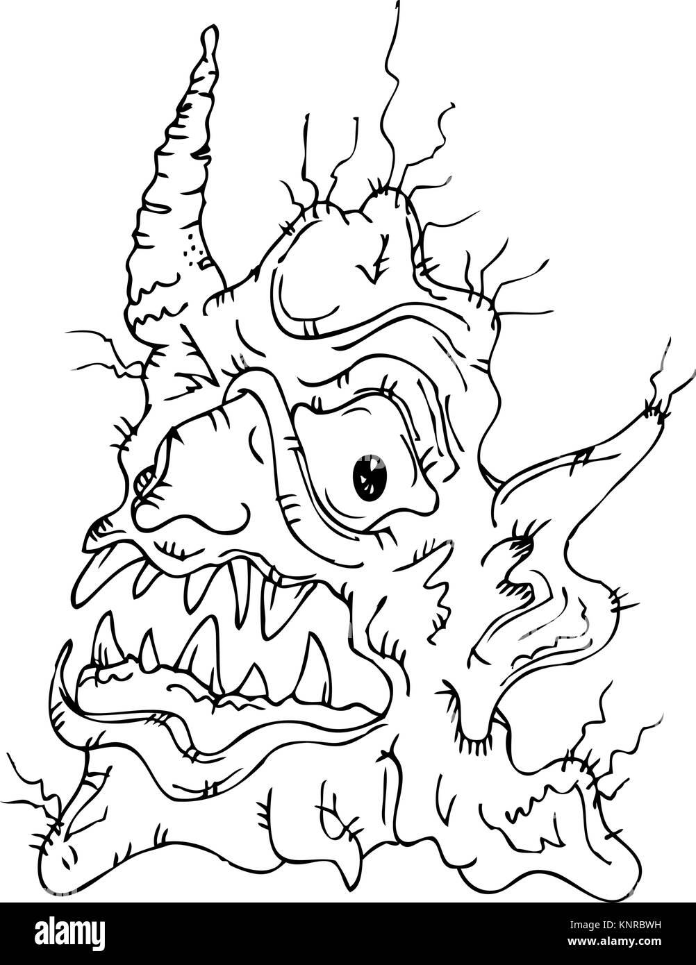 Fairy horrible criatura fantástica (vector cartoon outline ilustración gráfica) Ilustración del Vector