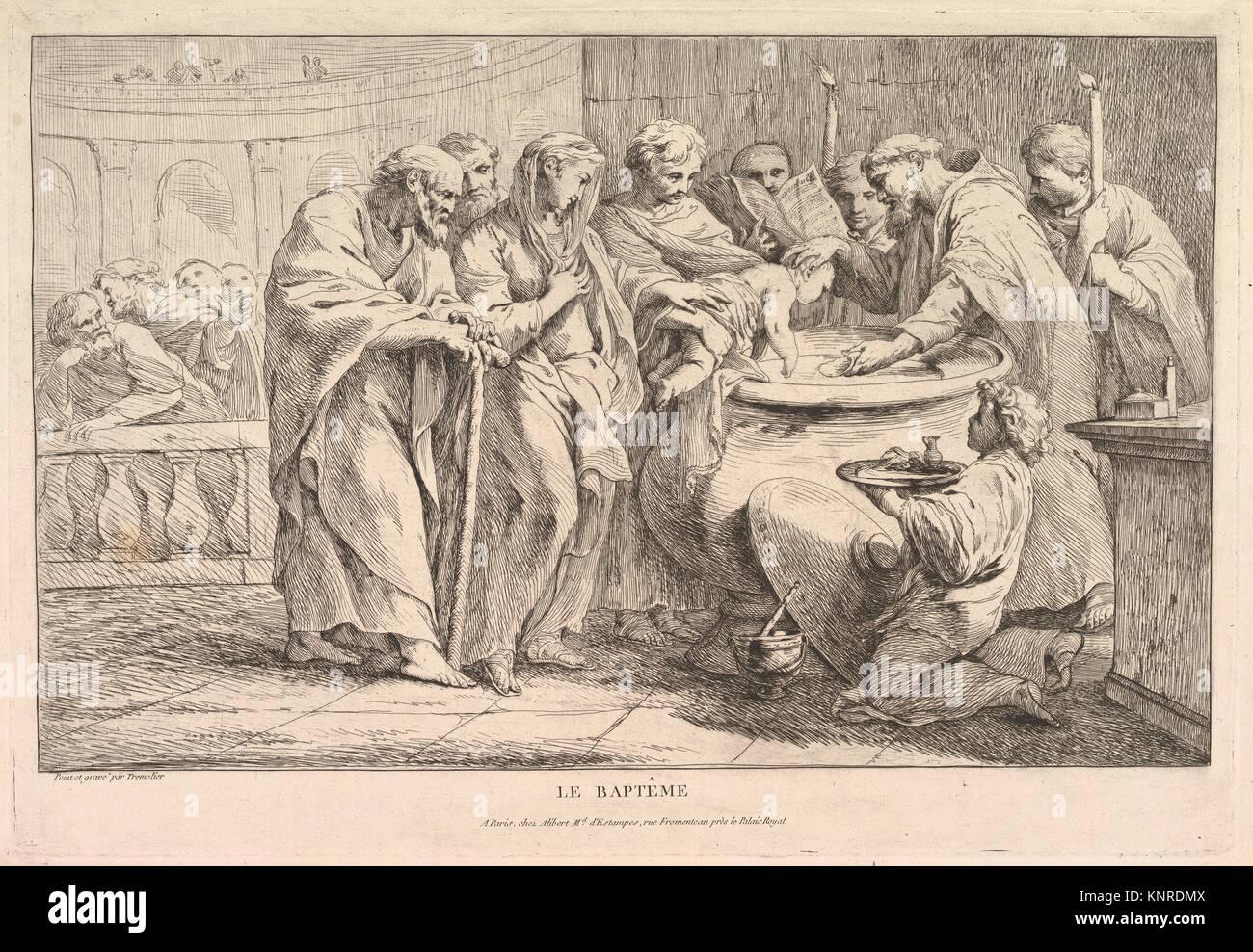 El bautismo. Artista: Pierre Charles Trémolières (Francés, Cholet 1703-1739 París); Fecha: ca. 1734; media: aguafuerte, estado II/II; Dimensiones: Hoja: 13 Foto de stock