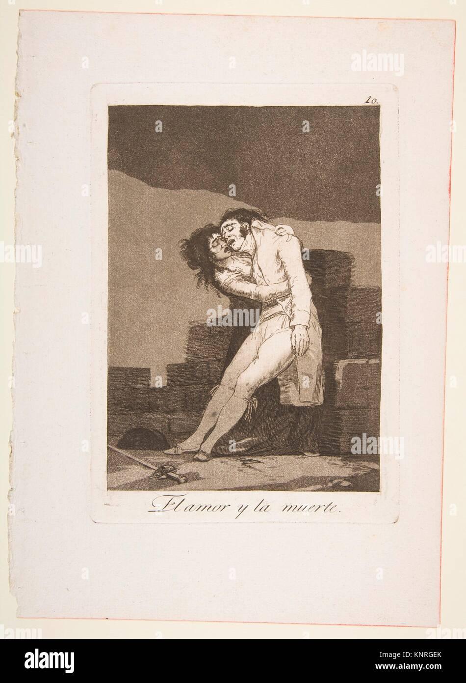 Placa a 10 de 'Los Caprichos': el amor y la muerte (El amor y la muerte). Series/cartera: Los Caprichos; Imagen De Stock