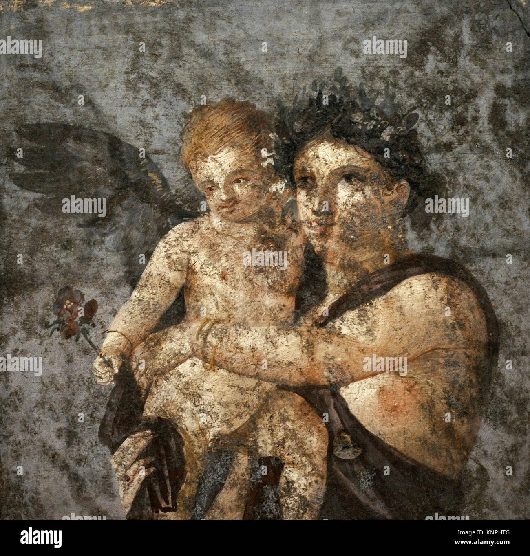 Menade Y Eros Fresco Romano El Siglo I Dc Tablinium Casa De Lucius Caecilius Lucundus Pompeya Museo Arqueologico Nacional Napoles Italia