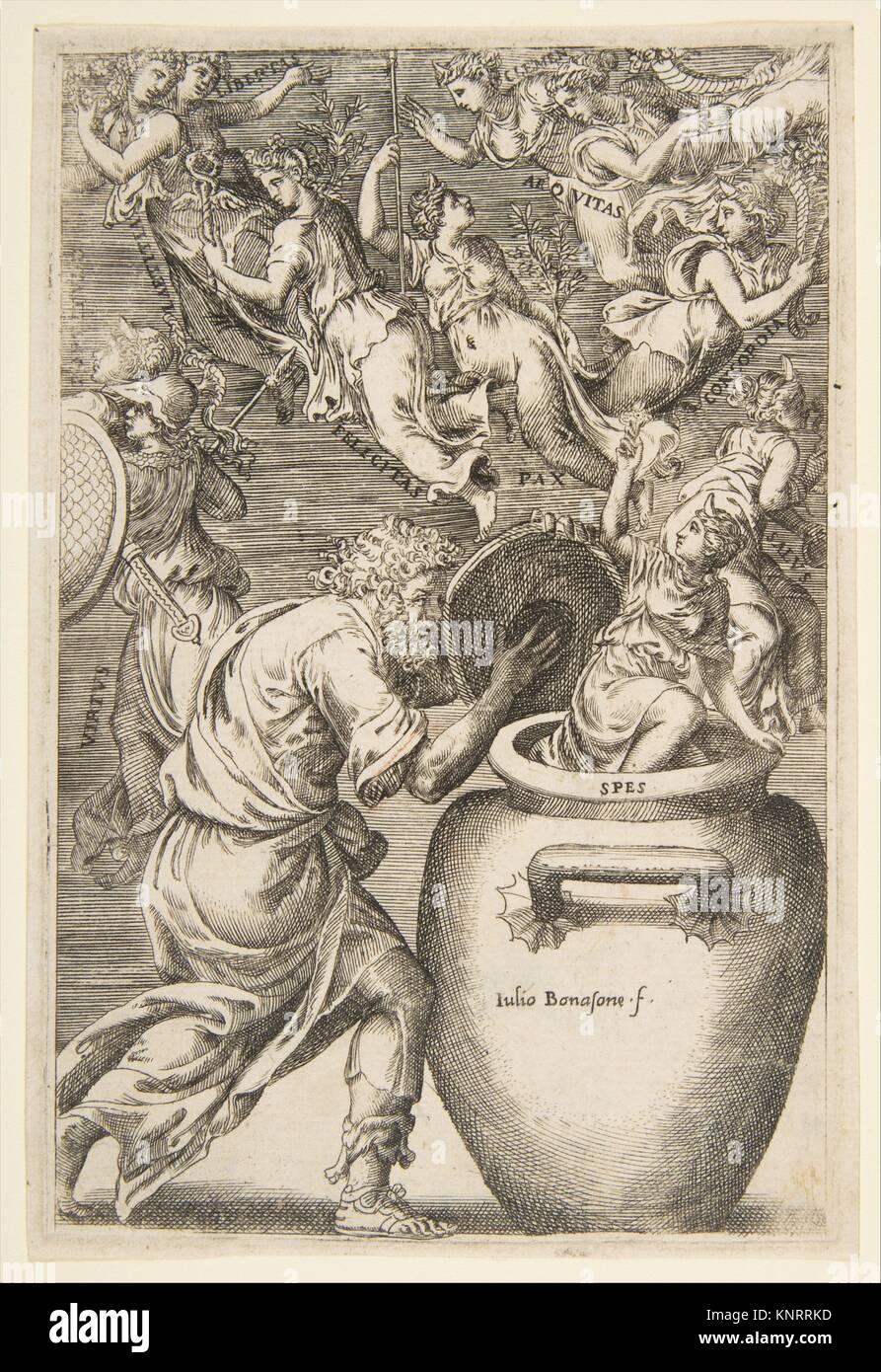Epimeteo Abriendo La Caja De Pandora Artista Giulio Bonasone Italiano Activo Roma Y Bolonia 1531 Después De 1576 Publicado En Providencia Fecha Fotografía De Stock Alamy