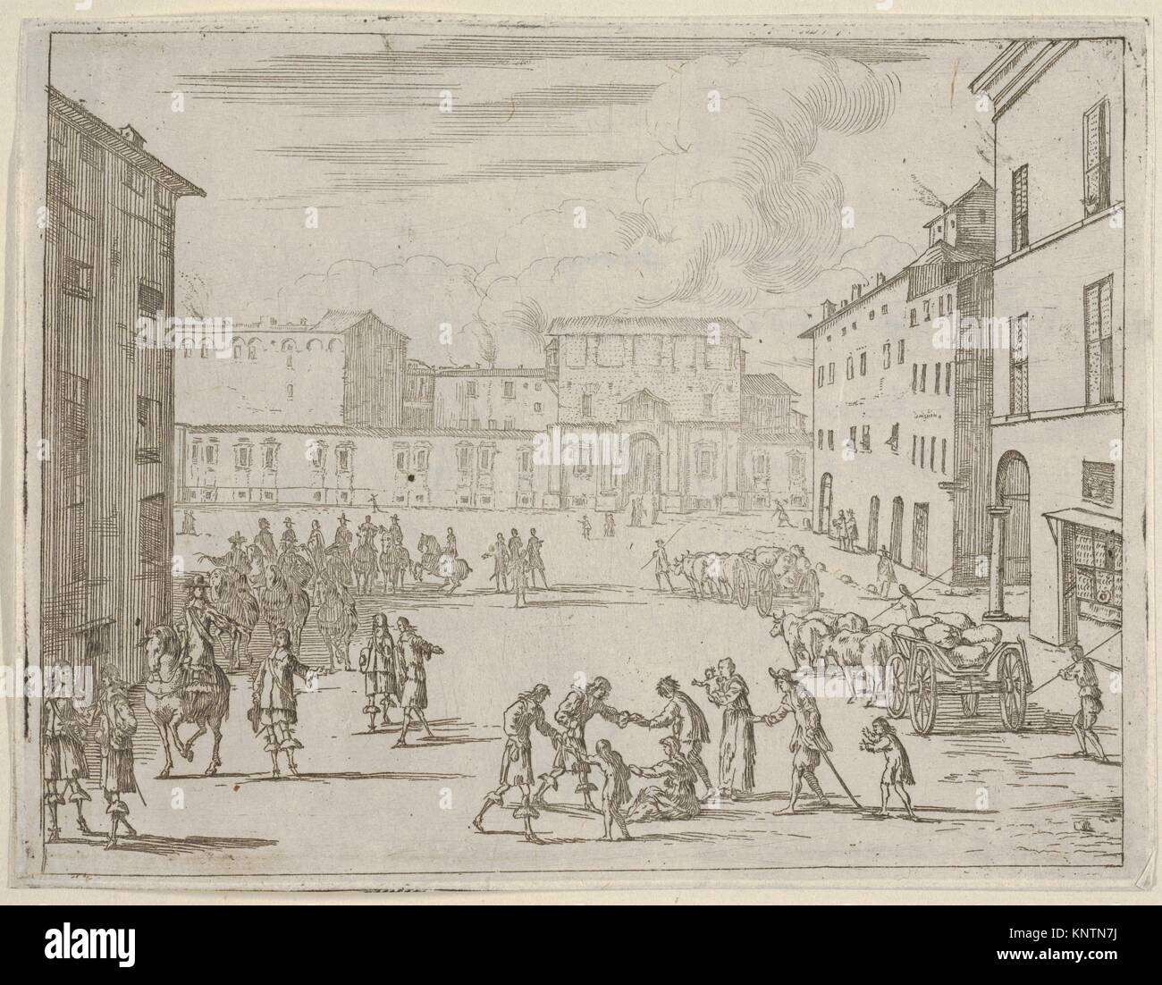 Francesco I d'Este asiste a sus súbditos con gran generosidad durante la gran hambruna de 1648 y 1649, Imagen De Stock