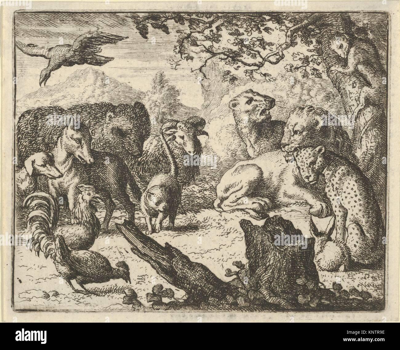 El León anuncia una paz duradera a los animales que le rodean, de Hendrick van Alcmar Renard de la Fox. Artista: Imagen De Stock