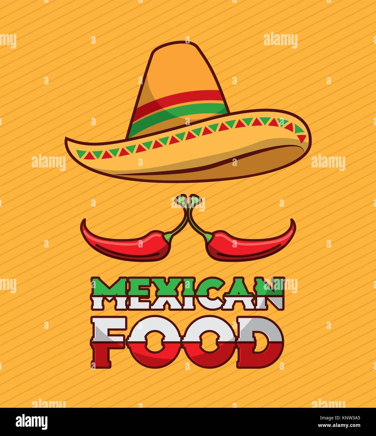 9290f705eb098 La comida mexicana chili pepper y sombrero tradicional Ilustración ...