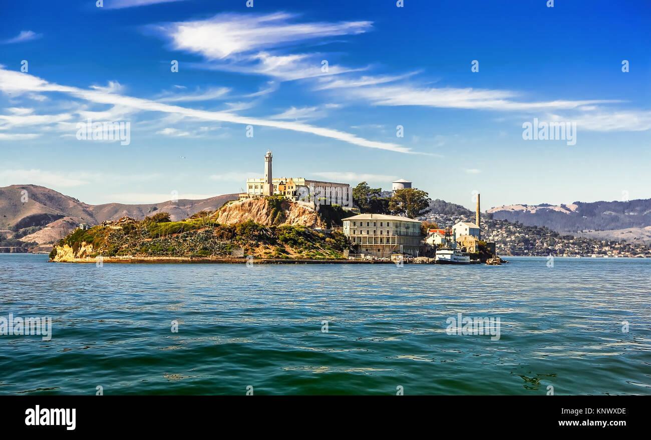 La Isla de Alcatraz en San Francisco. Foto de stock