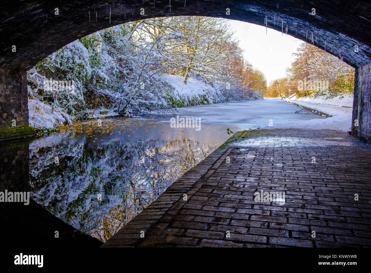 Vista de Birmingham congelado canal bajo un puente Imagen De Stock