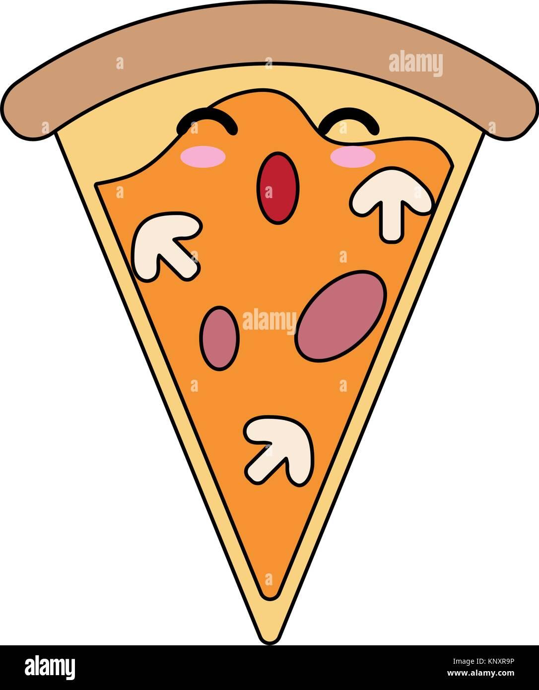 Comida Italiana Pizza Kawaii Cute Dibujos Animados Icono Ilustración