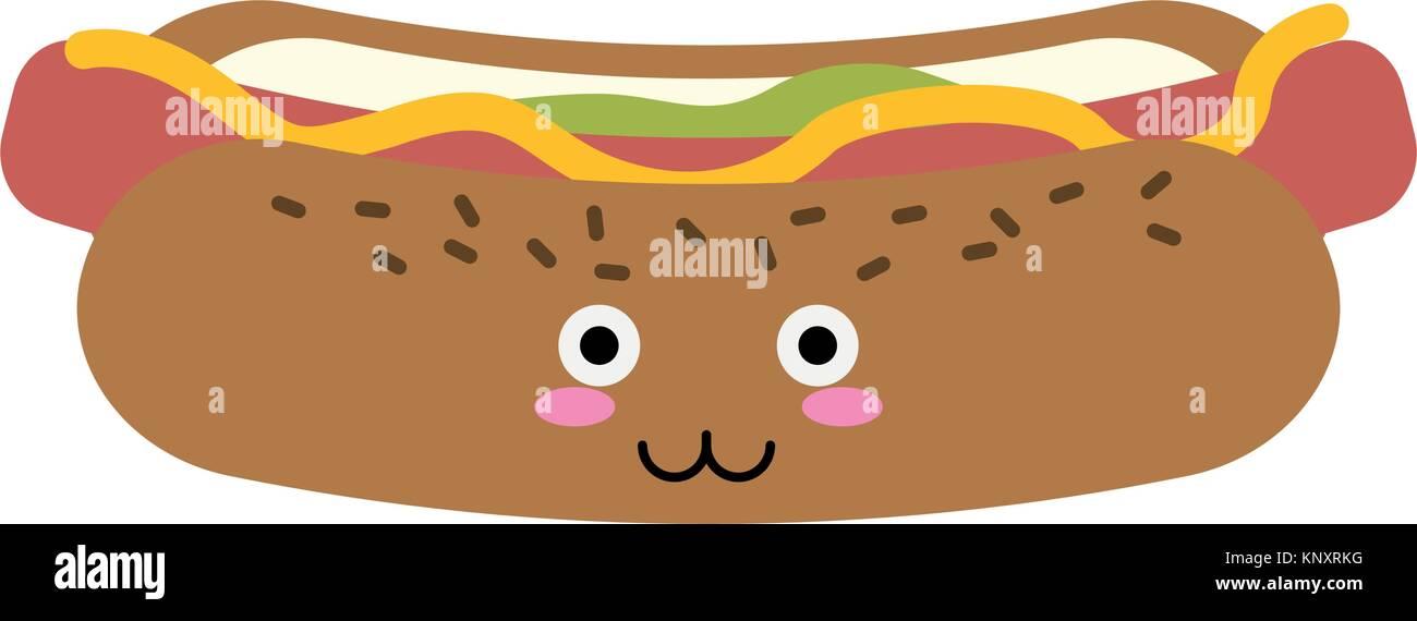Hot Dog Comida Rápida Kawaii Cute Dibujos Animados Icono Ilustración