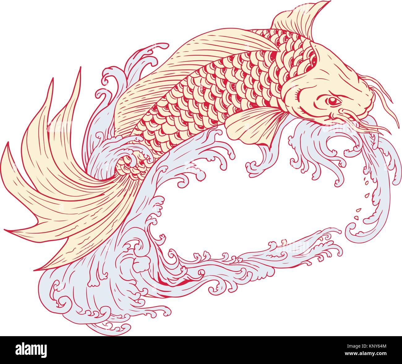Dibujo Dibujo Ilustración De Un Estilo O Koi Peces De Colores