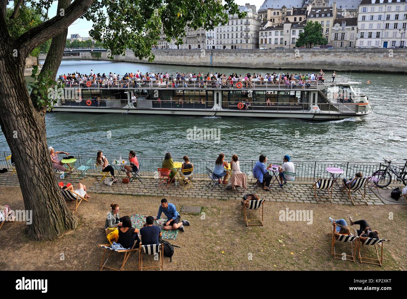 Personas con pic-nic en el río Sena frente a la Ile de la Cité, París, Francia, Europa. Foto de stock