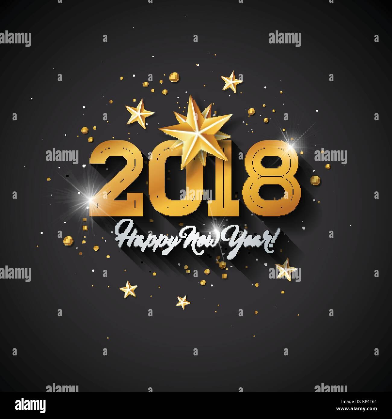 Feliz Año Nuevo Ilustración Con Tipografía Carta Y Bola Ornamental