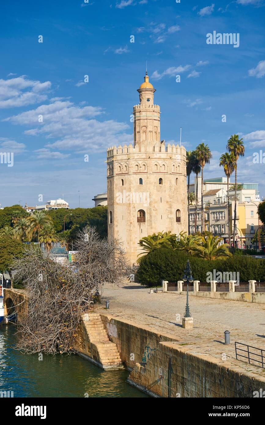 Torre del Oro, Sevilla, Andalucía, España, Europa. Imagen De Stock