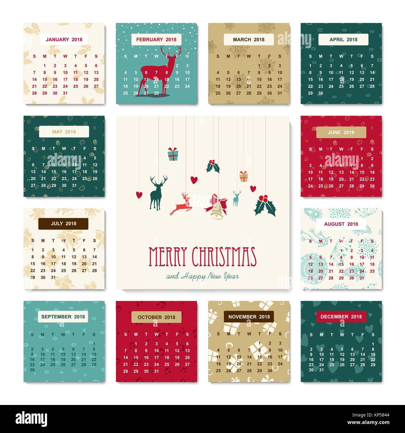 Calendar 2018 Vector Imágenes De Stock & Calendar 2018 Vector Fotos ...