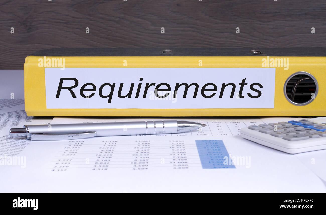 Requisitos aglutinante en la oficina Imagen De Stock