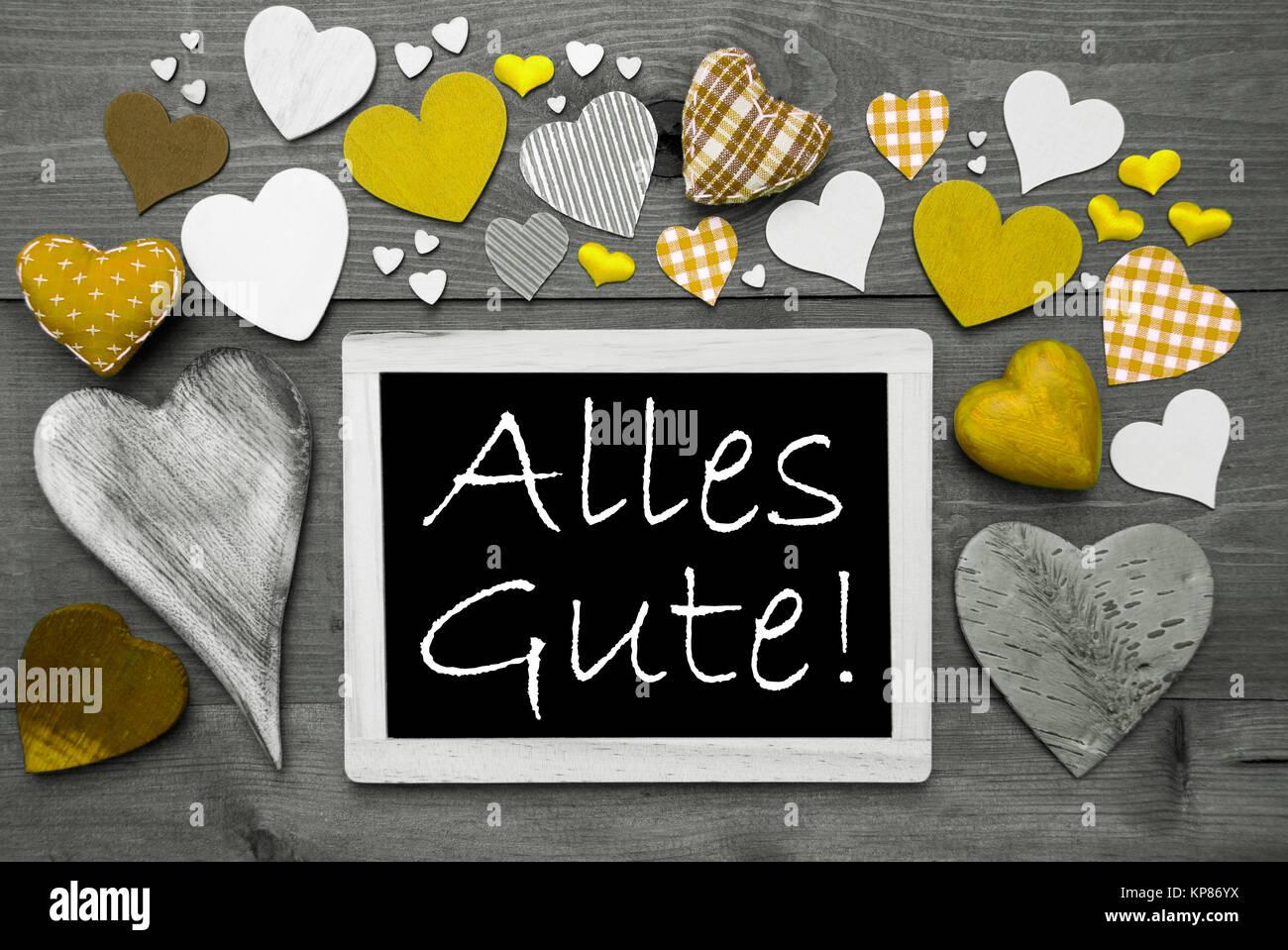 Pizarra Con Texto Alemán Alles Gute Significa Mejores Deseos Muchos