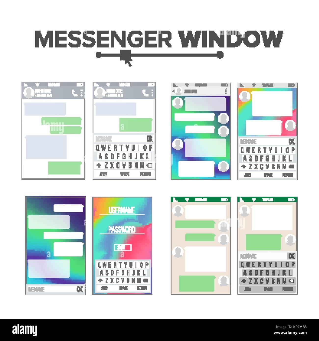 Kit de interfaz de usuario móvil Messenger Vector Set. Plantilla de ...