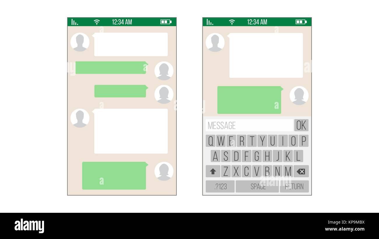 Chat, aplicación SMS plantilla vectorial. Los cuadros de mensaje ...