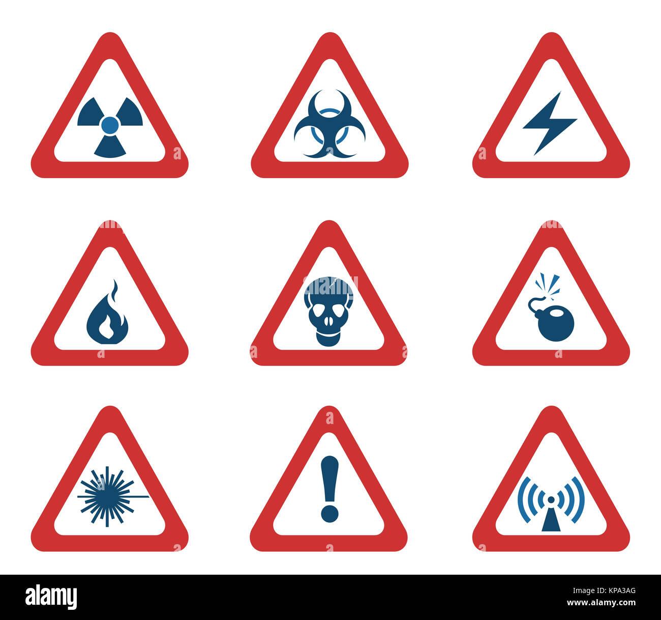 5c49da2c2d03b Conjunto de señales de advertencia de peligro triangular Foto ...