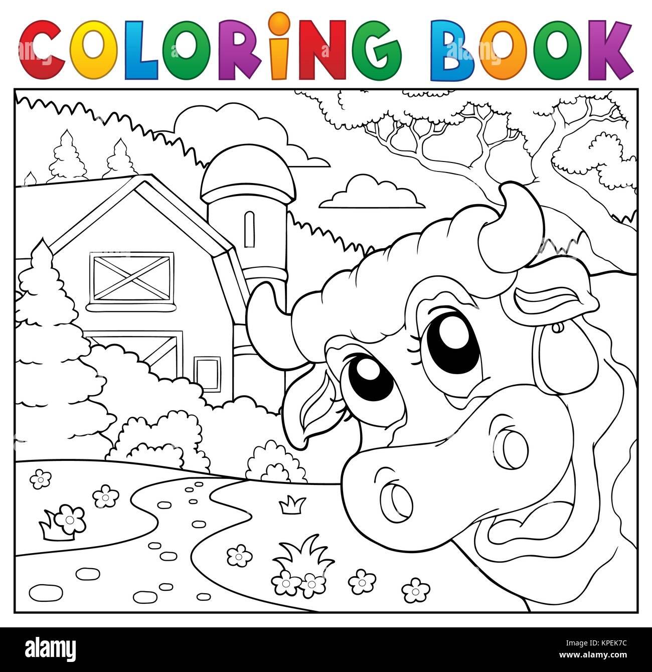 Libro para colorear de vaca al acecho cerca de la granja Foto ...
