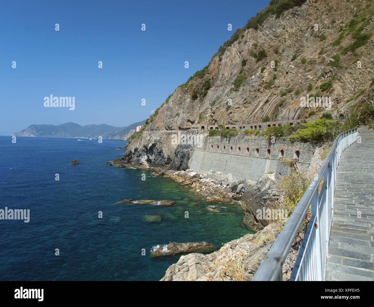 'Via dell amor' de Cinque Terre - Liguria Italia.Oone desde más bellos de Italia de rutas para peatones Imagen De Stock