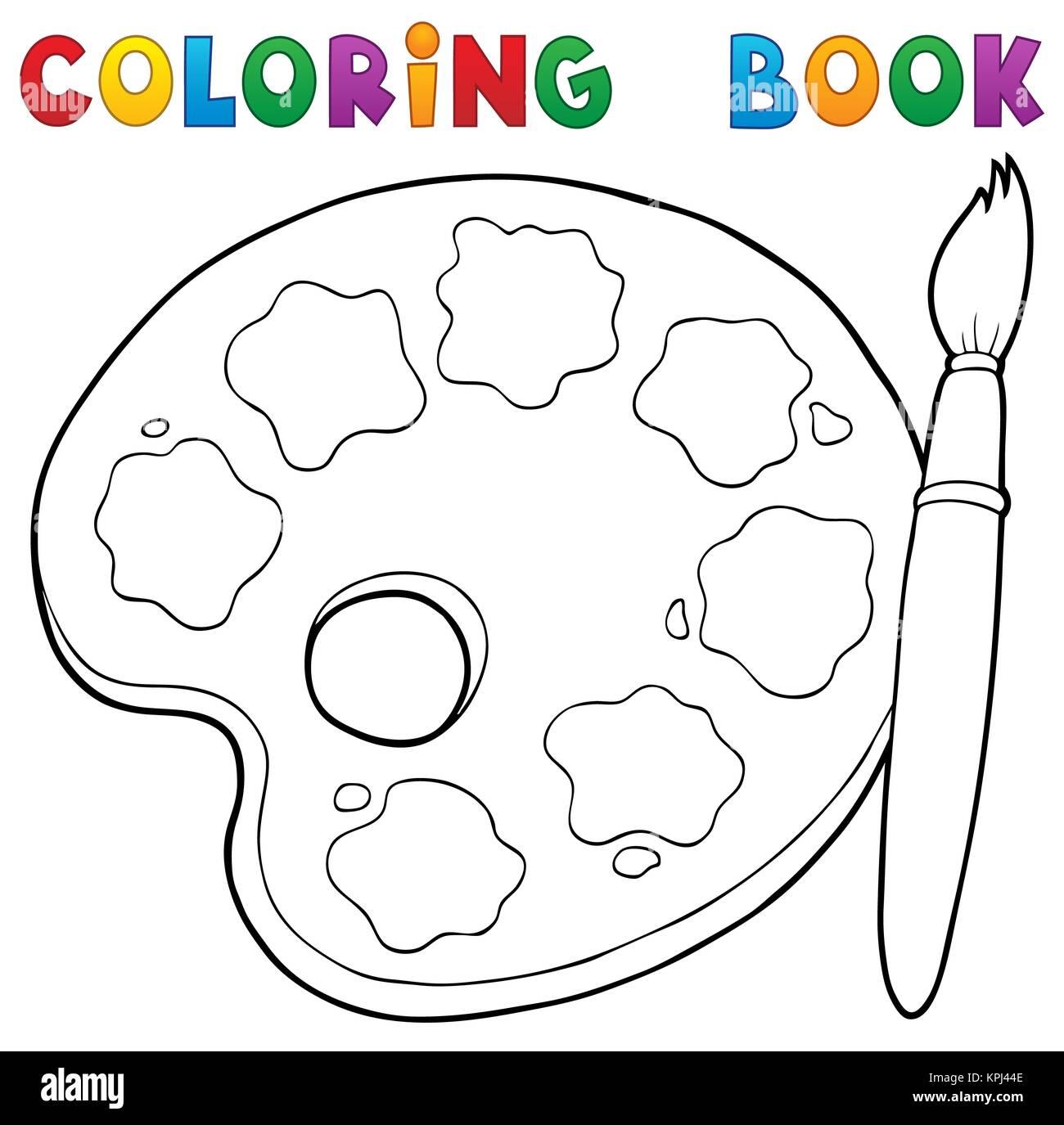 Libro Para Colorear De Paleta De Pintura Tema 1 Foto Imagen De