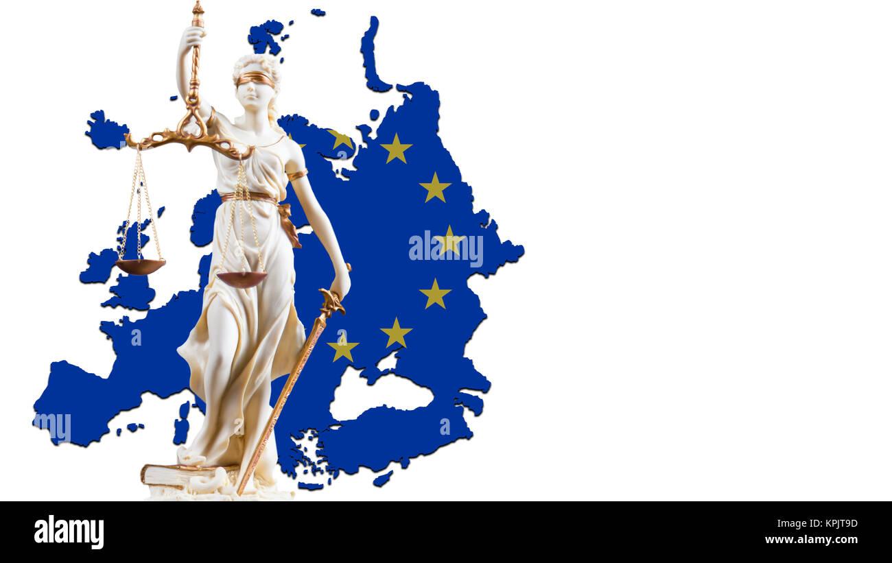 Justicia blanca figura en frente de los contornos de Europa Foto de stock