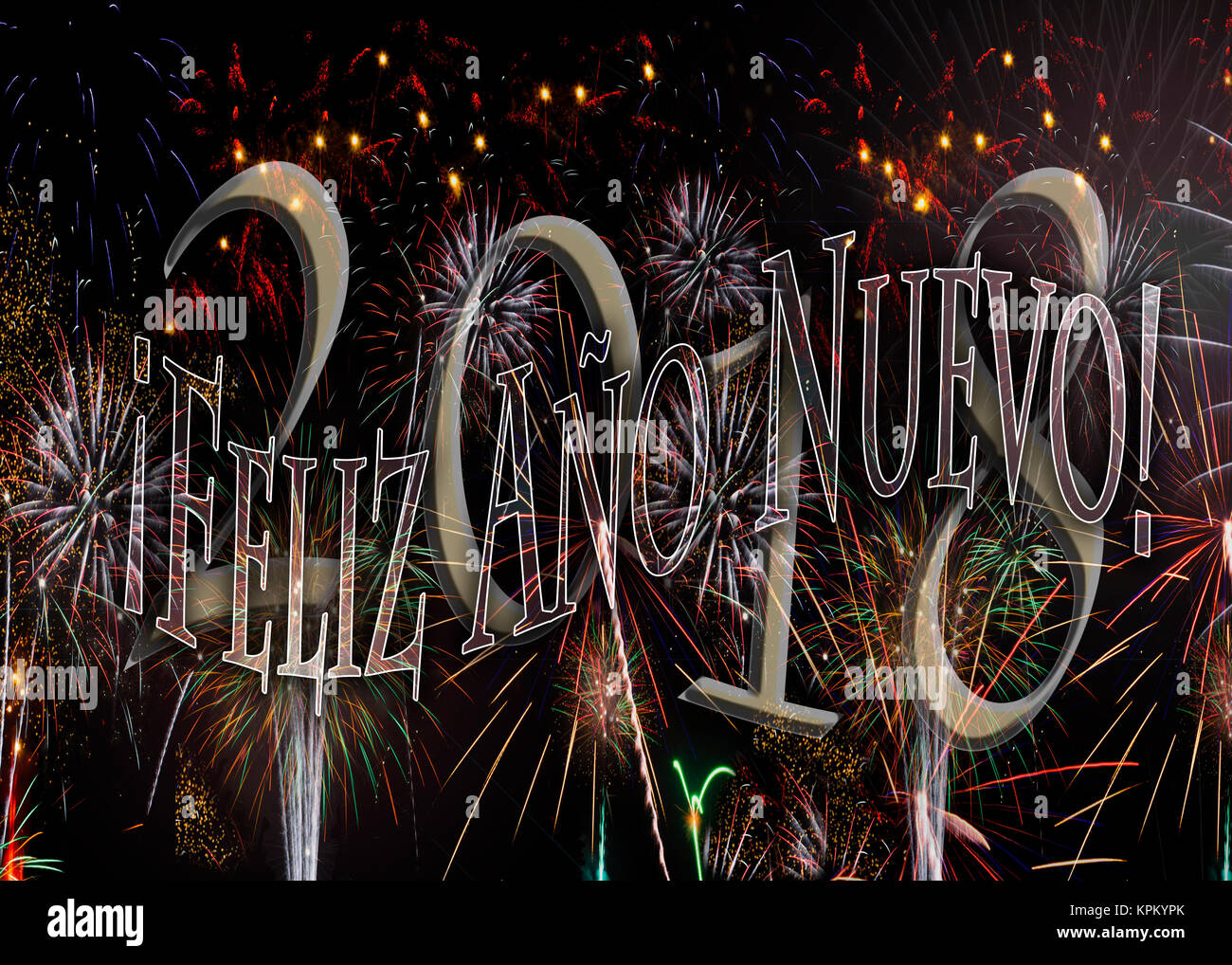 ¡Feliz Año Nuevo! Fuegos Artificiales 2018 Feliz Año Nuevo en español. Nuevo concepto de años Imagen De Stock