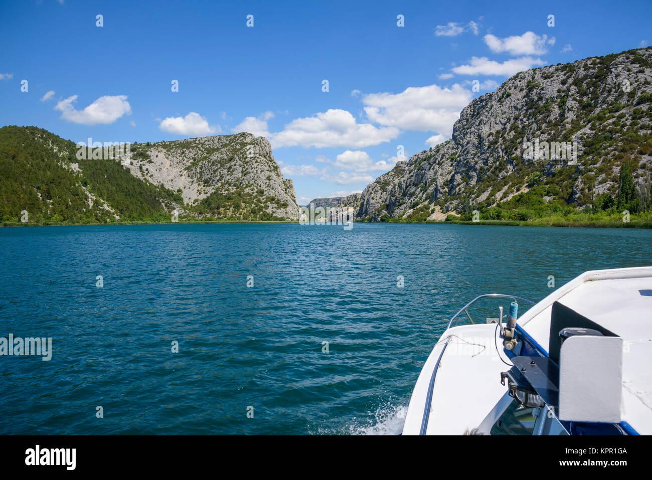 Viaje en barco al Parque Nacional de Krka, Croacia Imagen De Stock