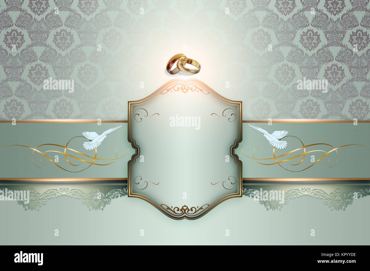 Fondo decorativo con motivos florales, boda símbolo y marco para el ...