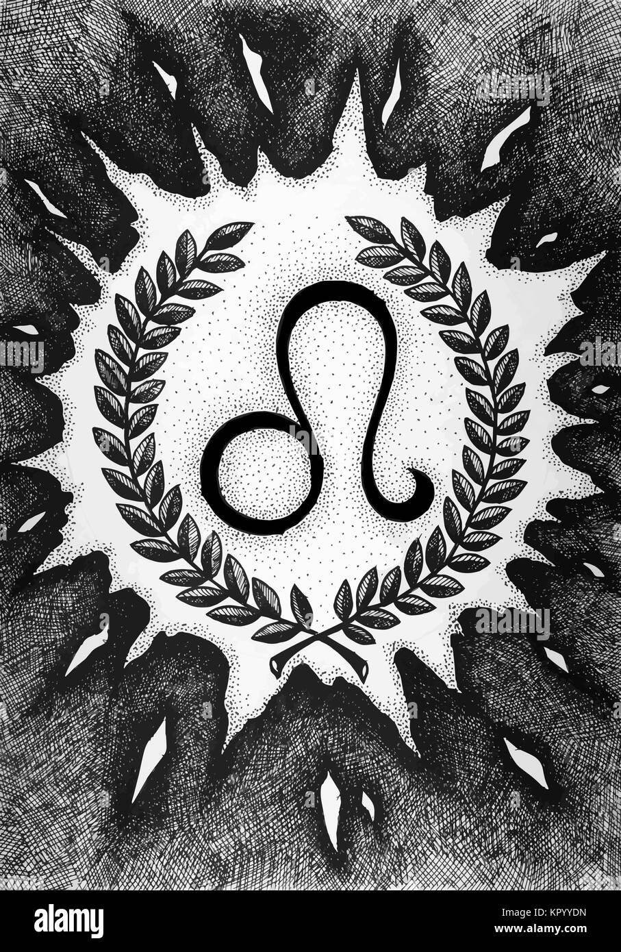 Los signos del zodiaco Leo. Dibujadas a mano con pincel de tinta. Ilustración vectorial. Ilustración del Vector