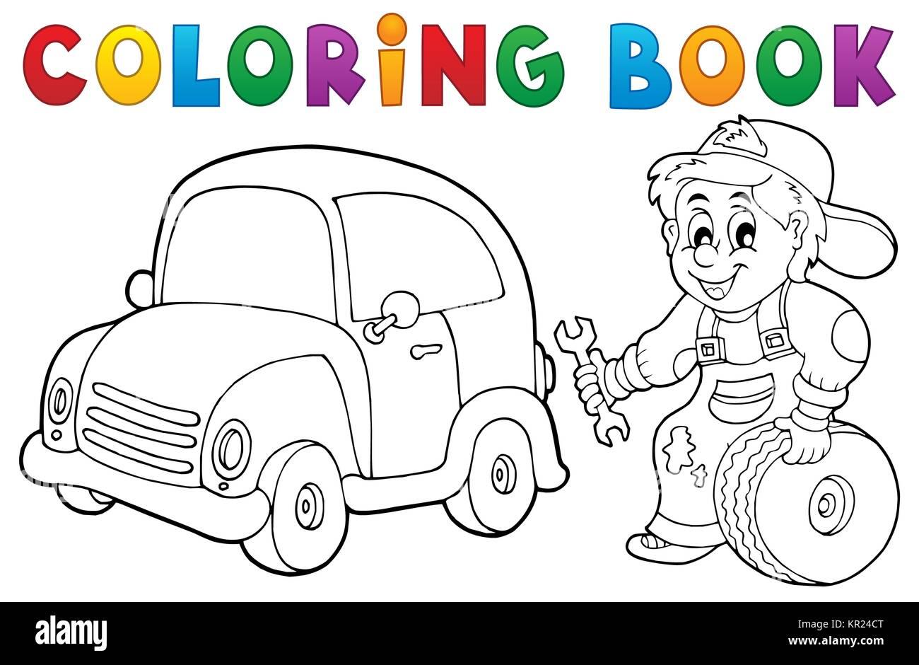 Libro para colorear de mecánico de automóviles Tema 1 Foto & Imagen ...