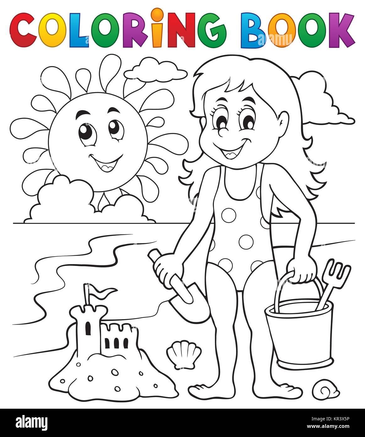 Libro Para Colorear Niña Jugando En La Playa 1 Foto Imagen De