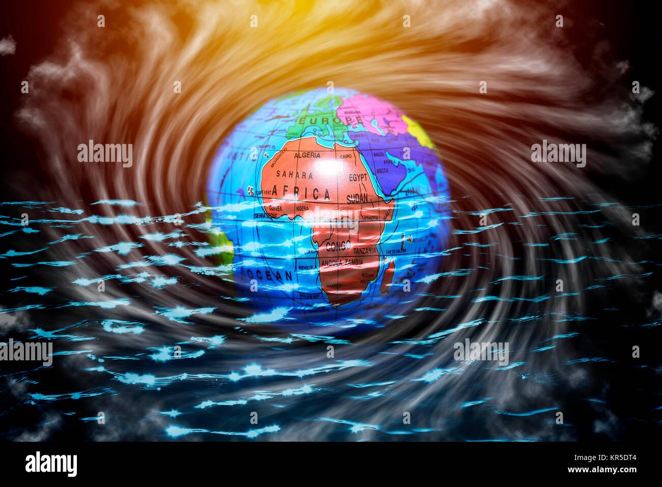 Globo terrestre en el agua, el cambio climático, la fotografía simbólica Erdglobus im Wasser, Klimawandel Symbolfoto Foto de stock