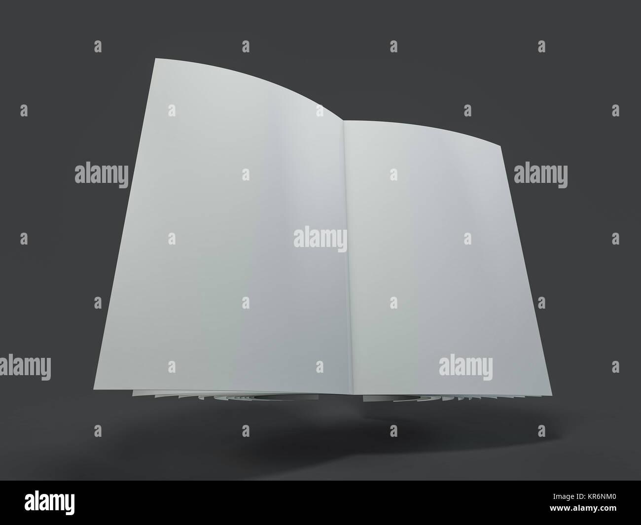 Revista, folleto o folleto boceto plantilla. 3D rendering Foto de stock
