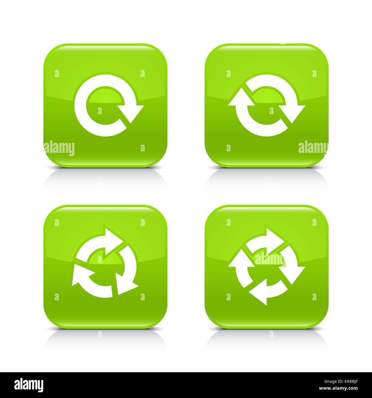 Flecha verde refrescar, recargar, rotación, Icono Repetir Foto de stock