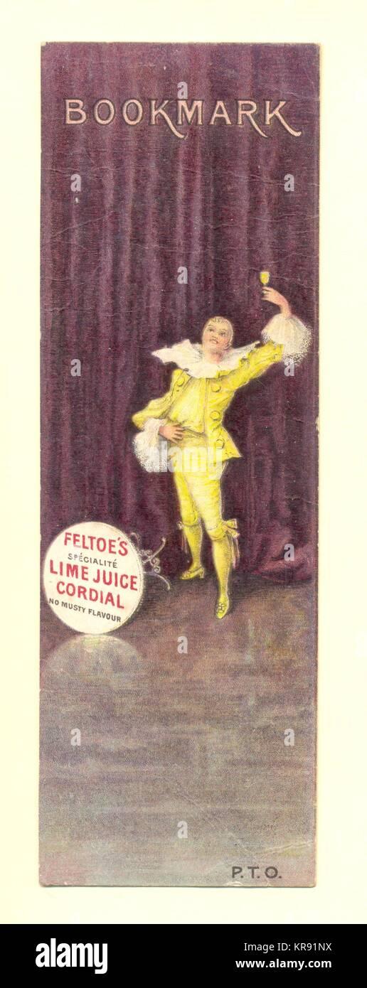 Publicidad Bookmark Feltoe's jugo de limón cordial Imagen De Stock