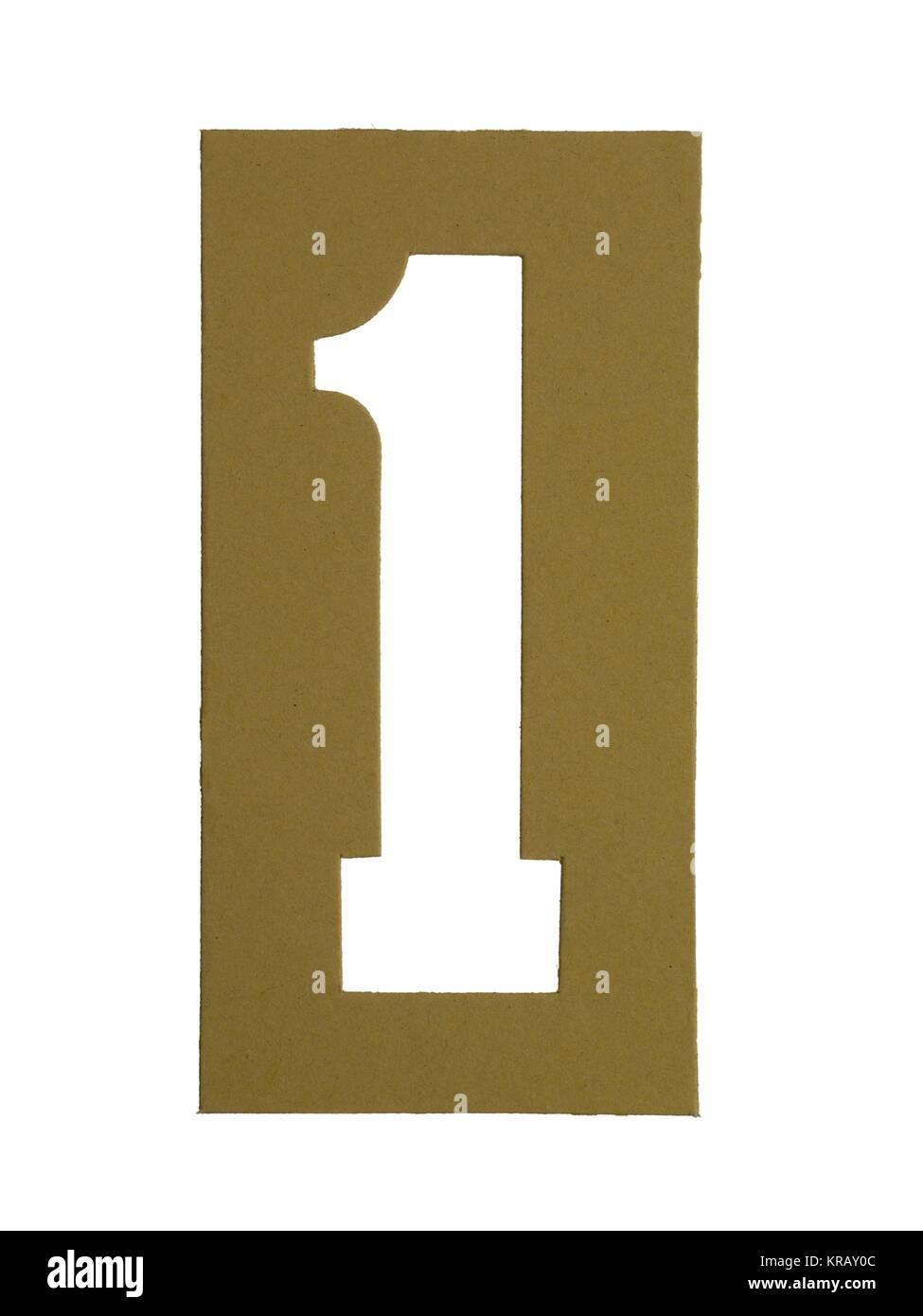 Cortar cartón número 1 Imagen De Stock