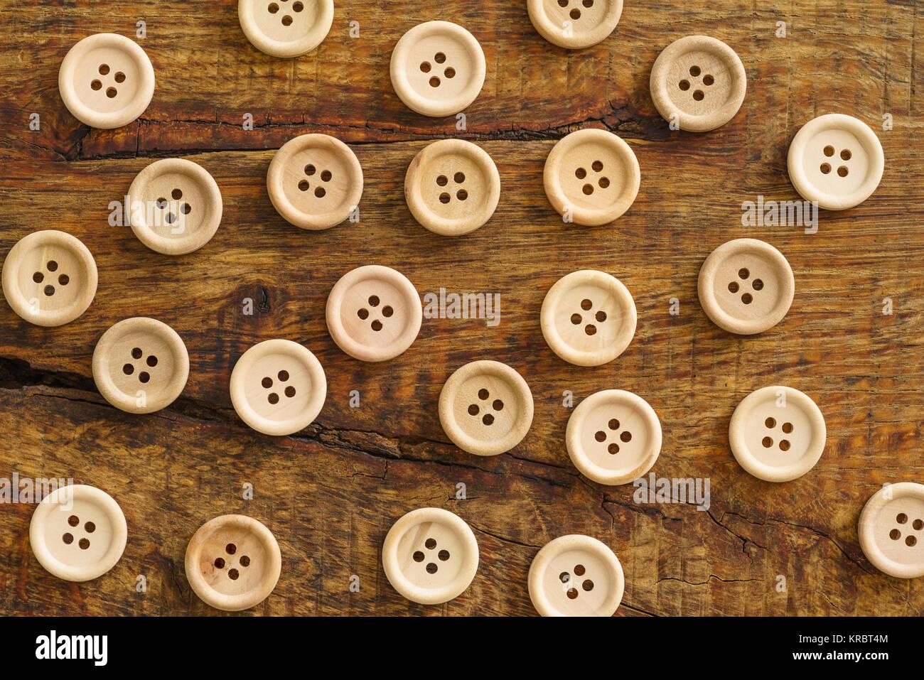 Colección de botones de madera Foto de stock