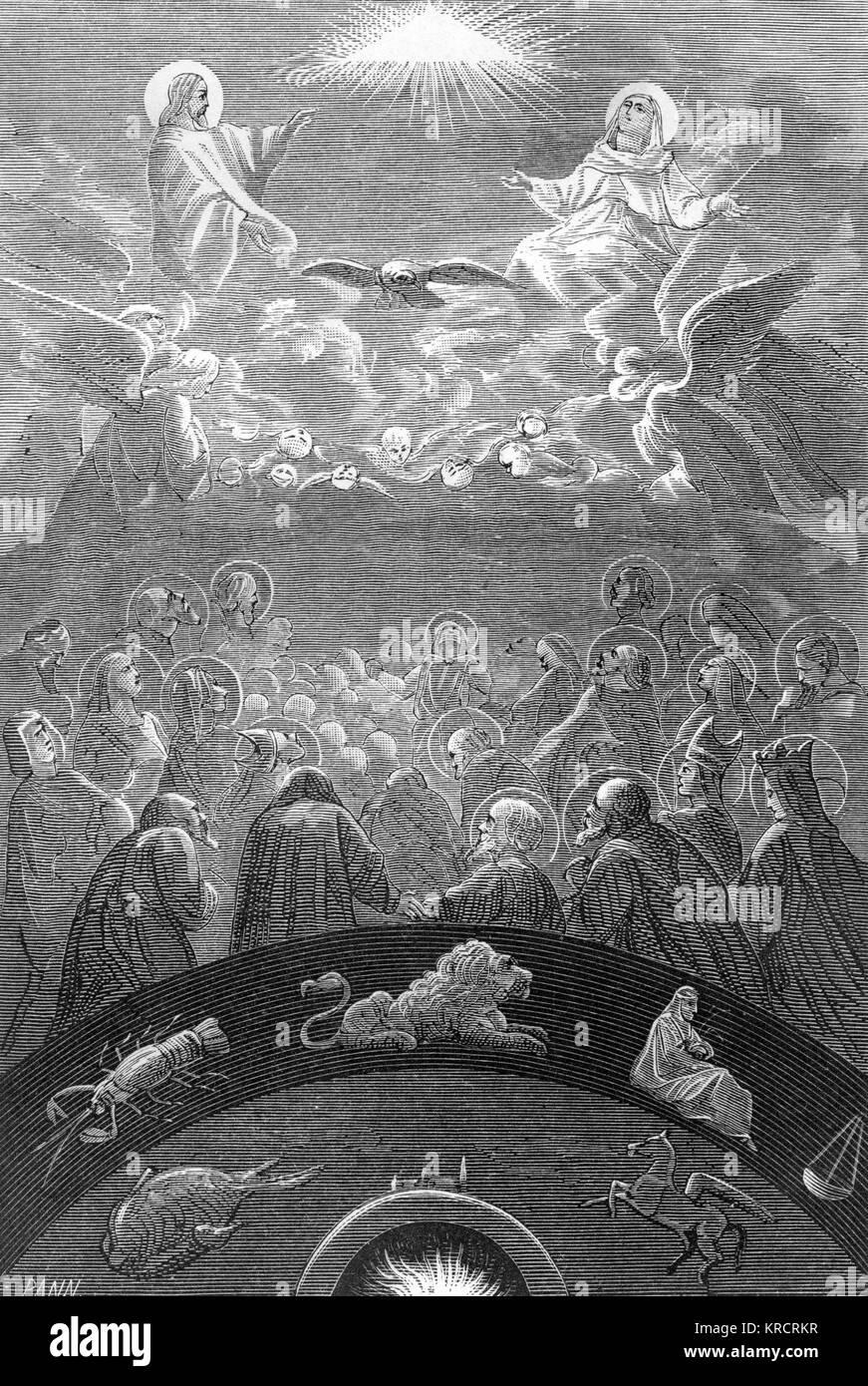 El concepto cristiano de los cielos Fecha: medieval Imagen De Stock