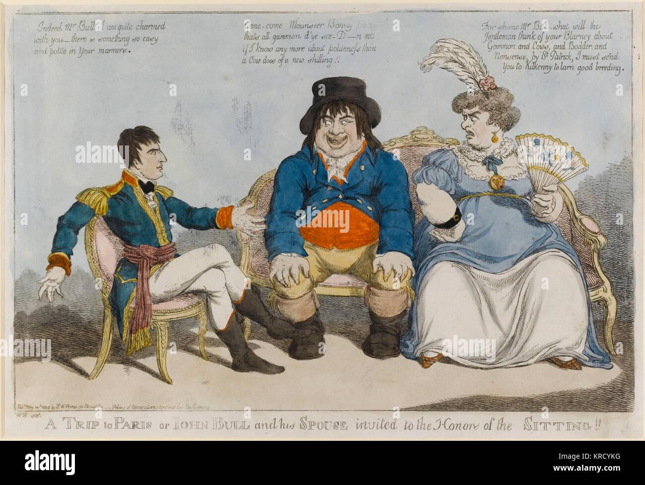 Caricatura satírica, un viaje a París o John Bull y su cónyuge invitó a los honores de la sesión!! Imagen De Stock